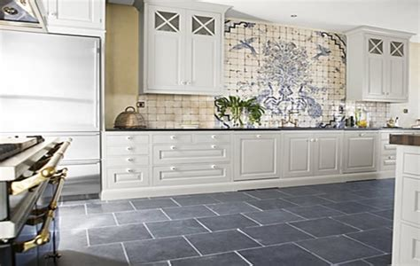 White Cabinet And Grey Ceramic Floor Tiles For Cottage