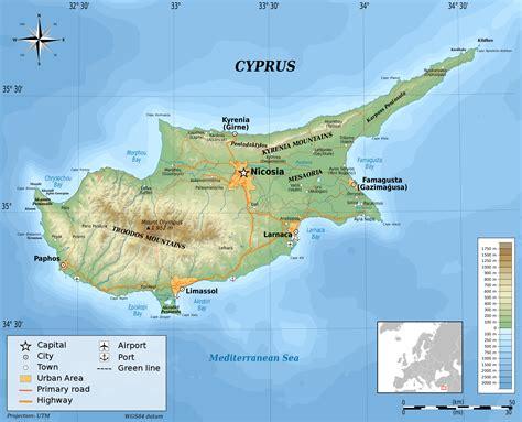 cyprus map zypern bergen karte
