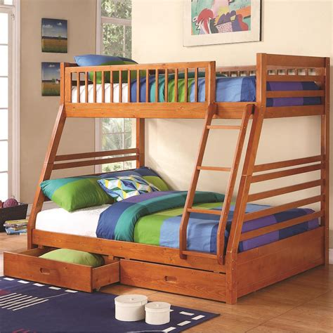 Wooden Bunk Beds With Drawers by Wooden Bunk Bed Storage Drawers Oak Finish
