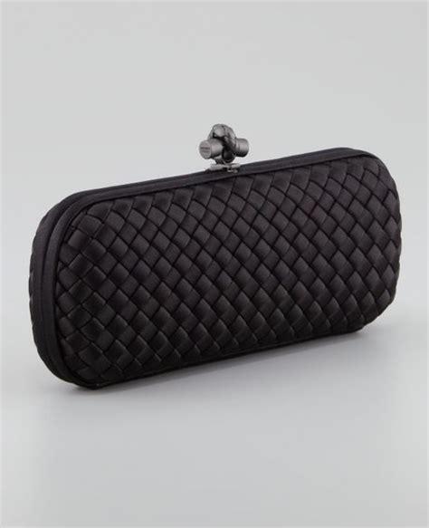 Bottega Venneta Knot Clutch Peony Snake Trim bottega veneta snake trim knot clutch bag in black lyst