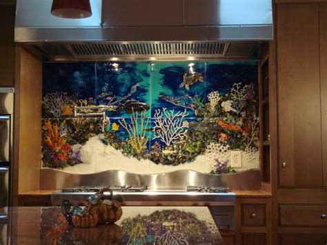 Beach Themed Home Decor underwater scene backsplash