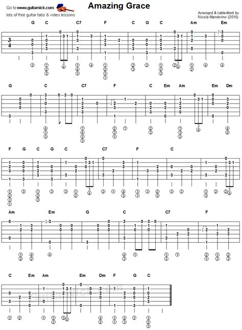 guitar tutorial fingerstyle easy amazing grace fingerstyle guitar tablature music sheet