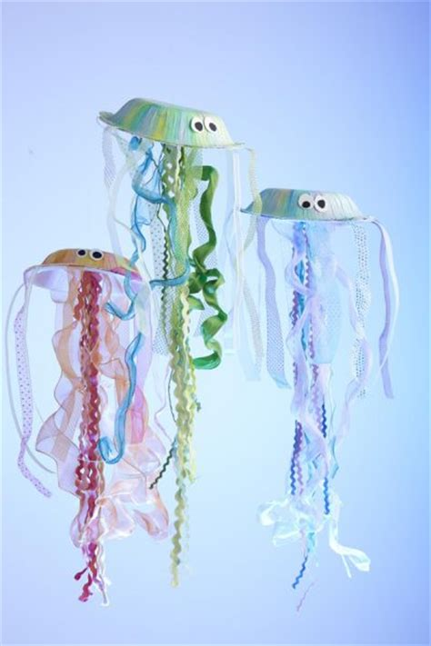 Paper Jellyfish Craft - paper bowl jellyfish family crafts