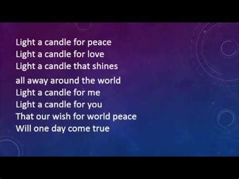 Candle Lighting Songs by Light A Candle For Peace With Lyrics