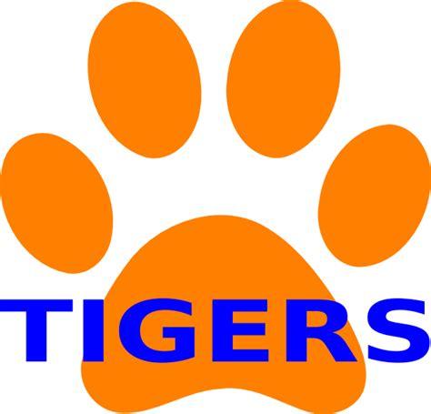 orange paw print tigers clip art at clker com vector