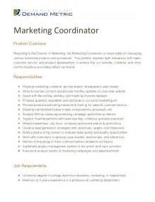 Marketing Coordinator Description Sles by Marketing Coordinator Description