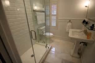 Bathroom restoration hardware bathroom with beveled subway tile and