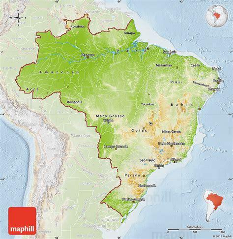 brazil physical map physical map of brazil lighten