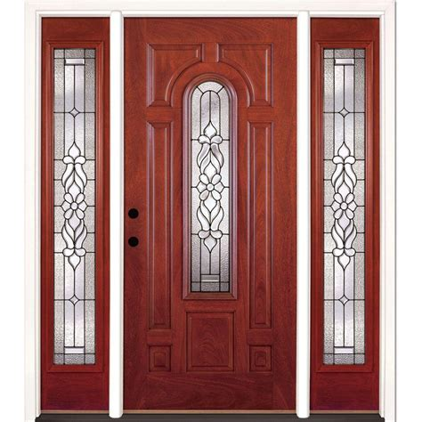 doors with sidelites feather river doors 67 5 in x 81 625 in lakewood patina