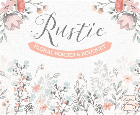 Rustic Wedding Border by Floral Border Bouquet Rustic Floral Clipart