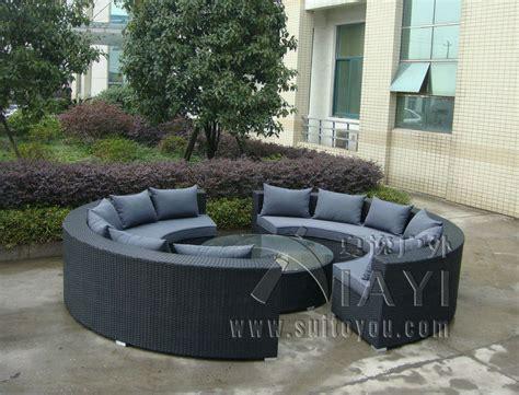 outdoor furniture circular couch 5 pcs half round wicker sofa set pe rattan patio furntiure
