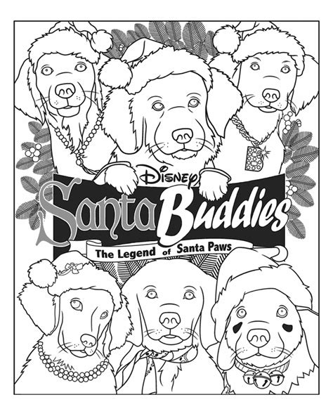 santa buddies coloring page puppies to colour in coloring home