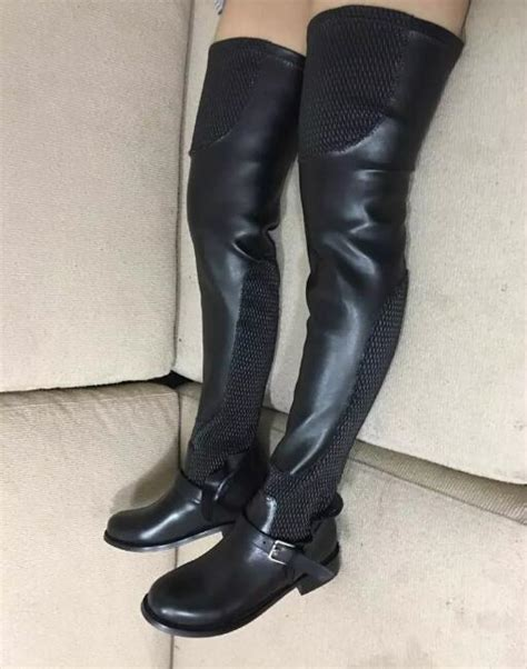 top quality thigh high boots plus size mesh and
