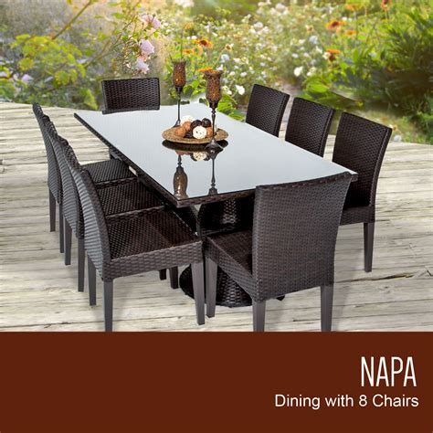 Outdoor Dining Tables For 8 Tk Classics Napa Rectangular Outdoor Patio Dining Table With 8 Armless Chairs