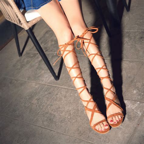 plus size knee high gladiator sandals womens knee high gladiator sandals promotion shop for