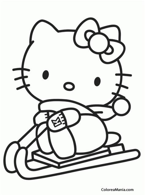 imagenes kitty para dibujar colorear kitty va en trineo hello kitty dibujo para