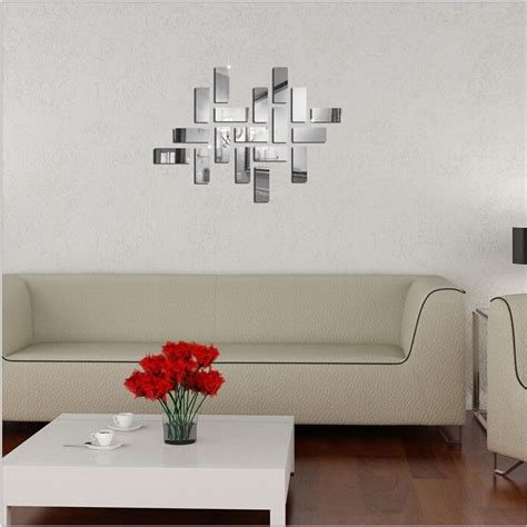 18pcs silver acrylic 3d rectangle mirror stickers mural