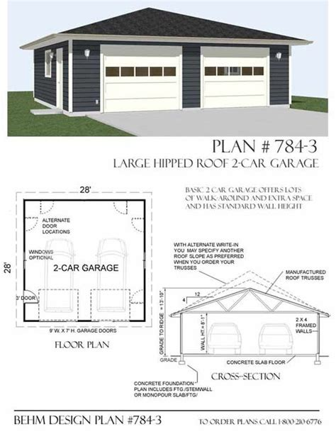 hip roof garage plans hipped roof oversized two car garage plan 784 1 28 x 28