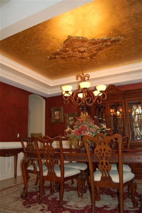 gold leaf dining room ceiling