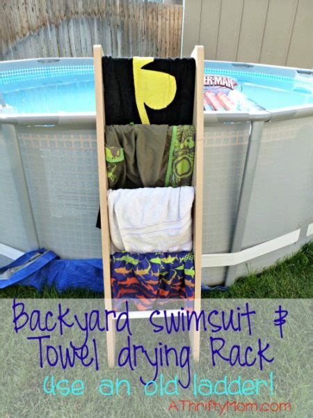 backyard swimsuit and towel drying rack use an ladder