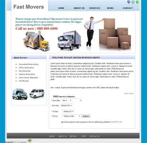Packers And Movers Html Templates Free Packers And Movers Web Template Templates Perfect