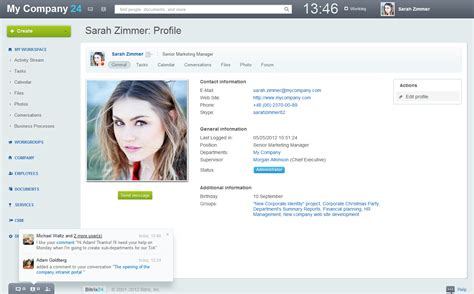 html templates for personal profile bitrix24 soluci 243 n de intranet caracter 237 sticas producto