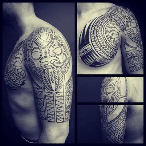 tribal chest and arm tattoos chest sleeve tribal best ideas designs