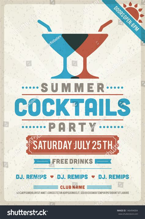 Retro Summer Party Design Poster Flyer Stock Vector 146494004 Shutterstock Event Poster Template
