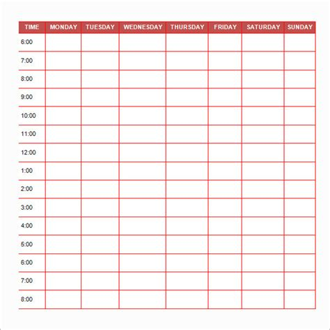 free printable daily schedule template sle printable daily schedule template 17 free