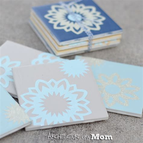 How To Make Coasters Out Of Tiles And Scrapbook Paper - architecture of a paper doily tile coasters