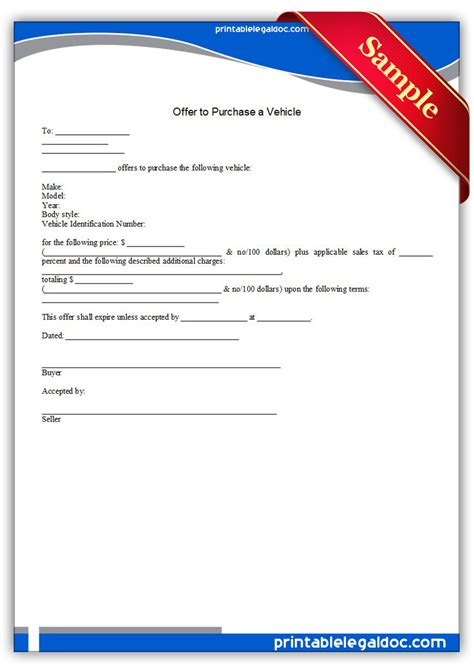 Release Offer Letter Free Printable Offer To Purchase A Vehicle Forms Free Forms Letter