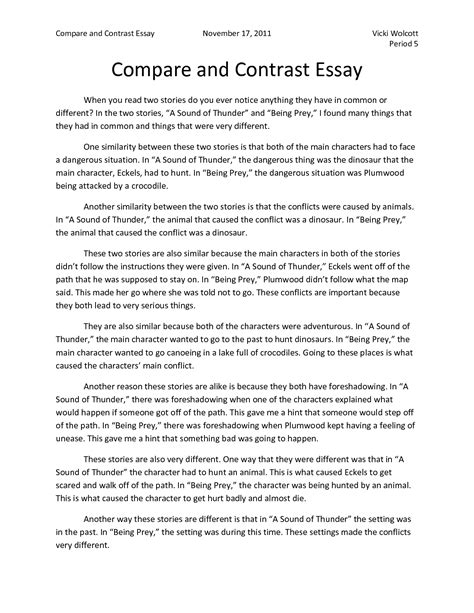 A Compare And Contrast Essay Exle by Language Cyberarts Grade 8