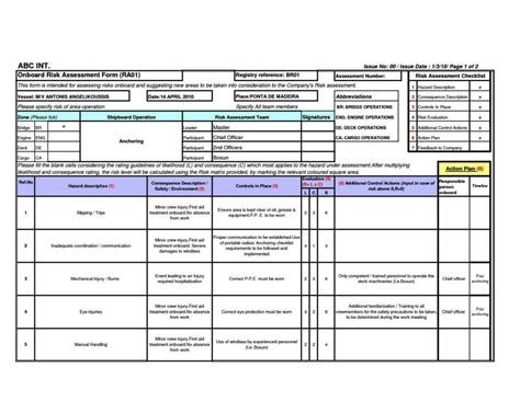 risk assessment template plumbing risk assessment template sletemplatess