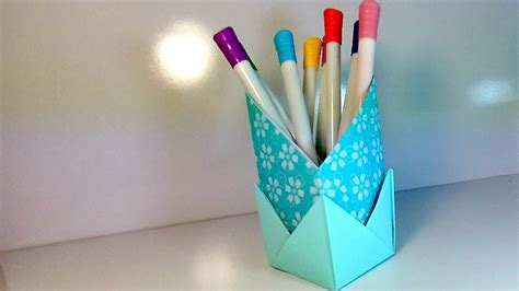how to make origami stand for pencils crafts out of paper