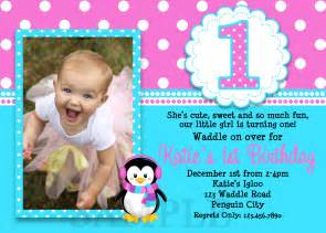 printable birthday invitations girls penguin party