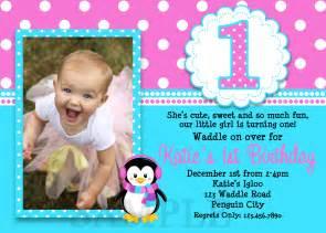 Home invitations girls invitations penguin girls 1st birthday