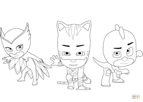 owlette catboy and gecko coloring page free printable