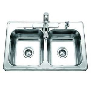 Topmount Kitchen Sinks - glowtone reflection double bowl 7 quot deep topmount stainless steel sink