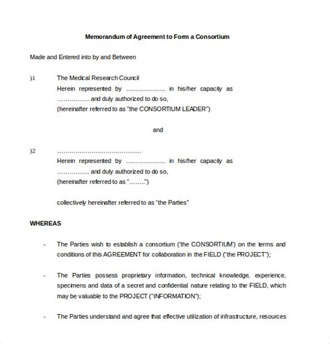 memorandum of agreement template memorandum of agreement template 10 free word pdf