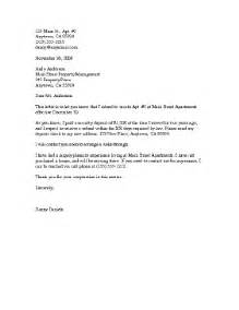 Notice To Vacate Apartment Letter by Sle Letter Leaving Apartment Sle Business Letter