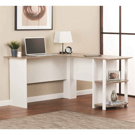 new l shaped computer desk with side storage shelf student