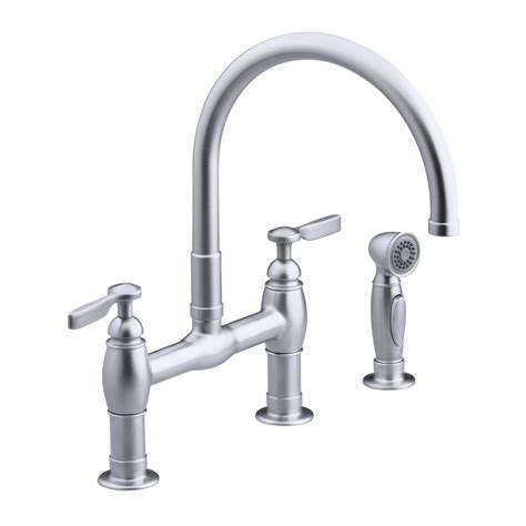 kohler kitchen faucets home depot kohler parq 2 handle bridge kitchen faucet in vibrant stainless k 6131 4 vs the home depot