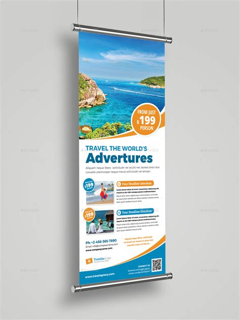banner design envato travel roll up banner signage indesign template by