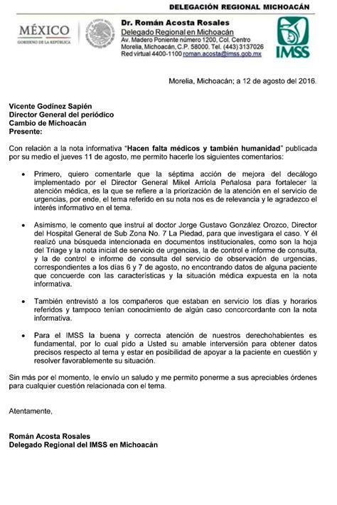 cambios en atencion imss 2016 carta aclaratoria del imss sobre nota informativa hacen