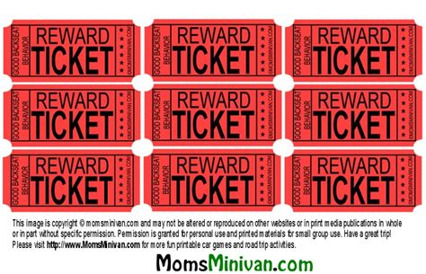 printable reward ticket template reward ticket sensory processing pinterest