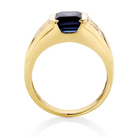 s ring with created sapphire diamonds in 10kt yellow