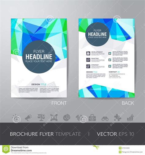 abstract blue low polygon leaflet brochure flyer template polygon brochure flyer design layout template in a4 size