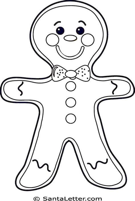 free gingerbread outline coloring pages