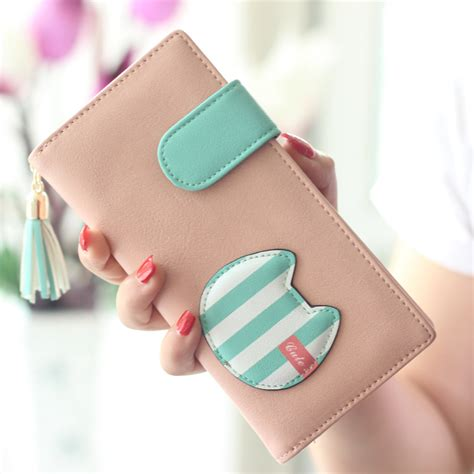 Aah368 Dompet Genggam Clutch Cat 2015 popular wallet cats purse new design clutch multicolor striped card