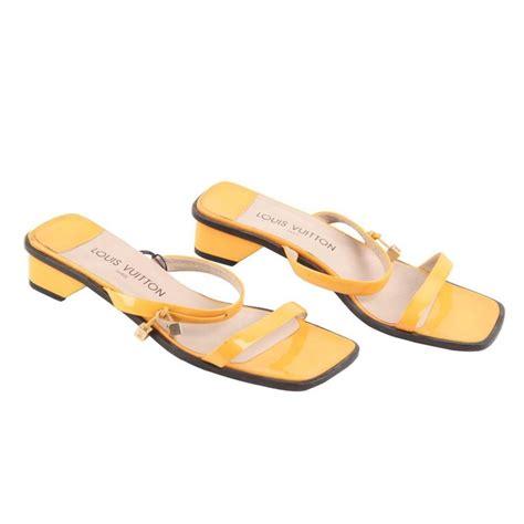 38 Louis Vuitton Shoes louis vuitton yellow patent leather flat sandals shoes sz